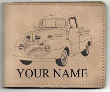 1950 Ford F1 Leather Billfold With Drawing and Your Name On It-Nice Quality