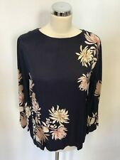 BNWT MARKS & SPENCER AUTOGRAPH NAVY BLUE FLORAL PRINT REAR TIE TOP SIZE 10
