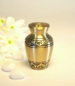 Gold Leaf Patterned Brass Keepsake Urn