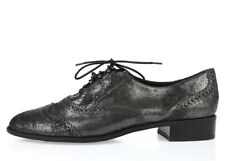 Stuart Weitzman Pewter Crackle Leather Oxfords Lace Up Shoes Size 5.5 10