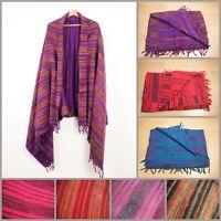 Hand Woven Stripe Blanket Boho Hippie Soft Touch Throw Oversized Shawl Scarf