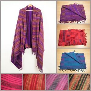 Hand Woven Stripe Blanket Boho Hippie Soft Touch Throw Oversized Shawl Scarf