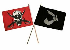 "12x18 12""x18"" Wholesale Combo Pirate Crimson Skull & Thomas Tew Stick Flag"