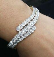 Deal! 5.00CT Natural Cluster Diamond Flower Tennis Bangle Bracelet  14KT Gold