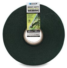 Whites HEAVY DUTY WEBBING 45mmx50m Roll, Provide Tree Support GREEN Aust Brand