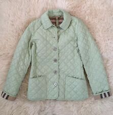 Authentic Burberry Brit Women Mint Green Quilted Nova Check Jacket Coat XS MINT!