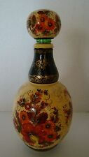 Russian Signed Hand Painted Wine Liquor Liqueur Bottle