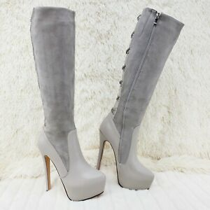 "Luichiny Real Lee Light Gray Ice 6"" High Heel Platform Knee Boots"