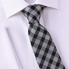 "Black Jacquard Check Striped Plaids & Checkered Designer Fashion Tie 3"" Necktie"