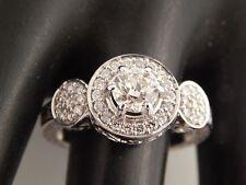 NEW 14k WG Round Diamond Halo Engagement Ring 1.29 tcw J/VVS European Cut Unique