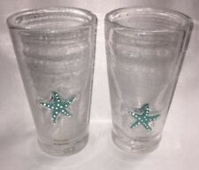 2 Sonoma Home + Style SEASIDE AQUA 12 Oz Highball Glass Beach Starfish Sea Shell