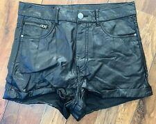 H&M Faux Leather Black Shorts Size UK 10 Hot Pants Womens Vegan Ref20