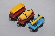 HAND CAR + DUMPER + CEMENT MIXER / Rare retired Thomas wooden trains
