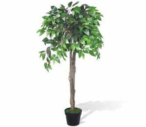 Artificial Plant Ficus Tree Plastic Pot 110 Wooden Trunks Trunk Wood Living Room