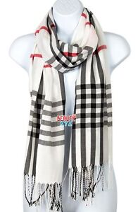 Unisex Women PLAID CHECK Print Pashmina Long Soft Stole Shawl Wrap Cape Scarf