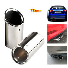 75mm Silver Rear Muffler Tips Stainless Steel Exhaust Tail Pipe Fits AUDI A4 Q5