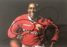 Dwight Yorke HAND SIGNED Manchester United Treble Winners Photograph *In Person*