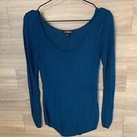 Express Womens Sz M Blue Scoop Neck Open Knit Sweater Long Sleeve Shirt