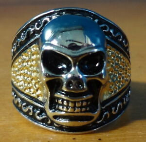 Skull Ring, Stainless Steel Size 10 1/4, Multi Color