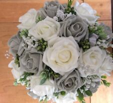Wedding Flowers Brides  Grey / Ivory Posy Bouquet Pearls & Diamantes & Ribbons