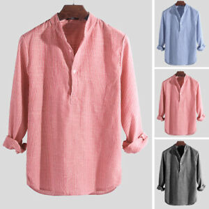 Retro Mens Collarless Grandad Striped Shirt Hippy Tops Cotton Causal Grandad Tee