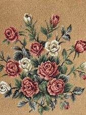 Vintage *Needlepoint Gold Red Pink *Roses Handmade Art Frame Wall Large Shabby