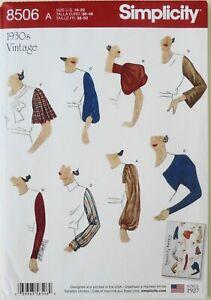 Simplicity 8506 Misses 1930's Vintage Sleeves Sewing Pattern Sz 10-22