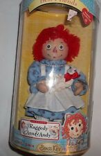 "RAGGEDY ANN Brass Key PORCELAIN DOLL- Best Friends. 6"" w/pet.NIB/06/brass Key"
