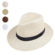 Panama Style Handmade Fedora Straw Hat Summer Beach Travel Sunhat For Men Women
