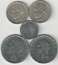 5 DIFFERENT 100 LIRE COINS from ITALY - 1979, 1979, 1992, 1993 & 1995 (5 TYPES)