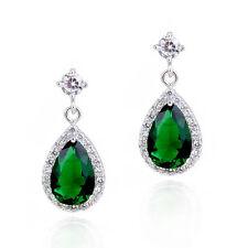 Luxury 18K White Gold GP Green Emerald Stud Earrings Drop Swarovski Crystals