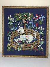 Brentwood Vintage The Unicorn in Captivity Cluny Finished Crewel Embroidery