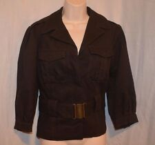 ZARA BASIC SAFARI Brown cotton lined 2 pockets belted Jacket Coat NWOT size M