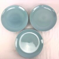 "Three Russel Wright Iroquois MCM Ice Blue 10"" Dinner Plates"