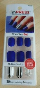 NEW KISS IMPRESS MANICURE Matte blue white stripe Faux 30 fake press-on nail set