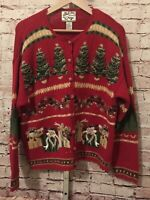 Heirloom Collectibles Ugly Christmas Holiday Sweater Cardigan Womens L VTG 2001