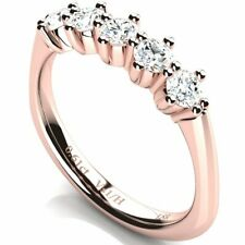 Half Eternity Diamond Ring 0.61 ct Vs1 / H Rose Gold 18K Engagement Wedding