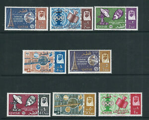QATAR 1965 ITU, SATELLITE, TELECOM TOWER, OLYMPIC RINGS (Sc 61-68) VF MLH