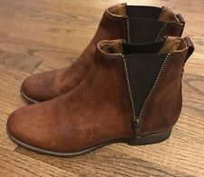 Women's Frye Boots Carly Zip Chelsea Cognac Brown Size 9 New