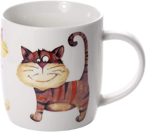 Mug Cup for Tea Coffee Hot Drinks White Porcelain China with Colourful Funny Cat
