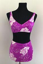 Vintage Hi-Waist Bikini Purple & White Flowers Roxanne Women's Size 10/32 Small