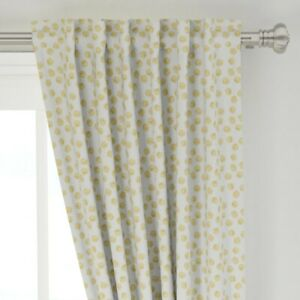 """Polka Dot Holiday Hand Drawn Yellow White 50"""" Wide Curtain Panel by Roostery"""