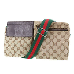 GUCCI Original GG Web stripe Fanny Pack Brown Canvas Italy Vintage Auth #UU154 S