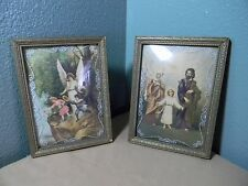 2 Vintage/Antique prints HOLY FAMILY and GUARDIAN ANGEL under bubble glass