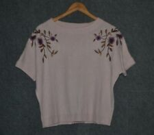 Massimo Dutti Embroidered Sweater Pale Pink S New
