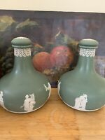 Pair of Antique Wedgwood Sage Green Jasperware Decanters for Humphrey & Taylor