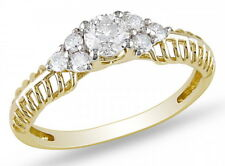 Half Eternity Ring 18k Yellow Gold on 925 Sterling Silver Love Wife Gift For Her
