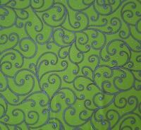 Imperial Paisley BTY Ivy Lane Quilting Treasures Blue Scroll on Deep Lime Green