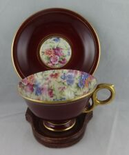 Vintage Royal Winton Chintz May Fair Burgundy Best Gold tea Cup & Saucer