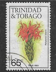 TRINIDAD & TOBAGO 1987 DEFINITIVE FLOWERS SERIES - USED 65c STAMP, BLACK STICK